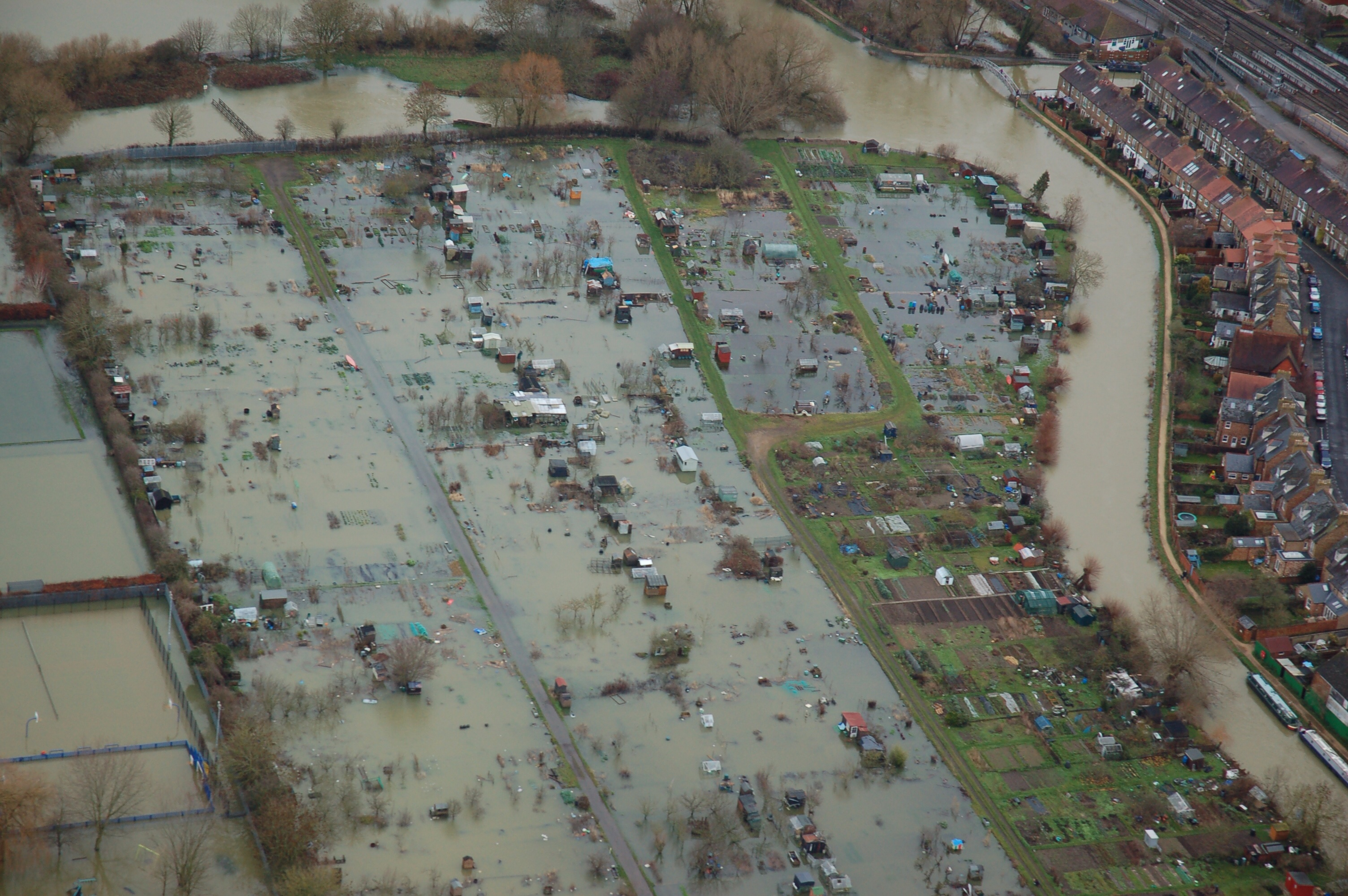 Flooded allotments in Oxford