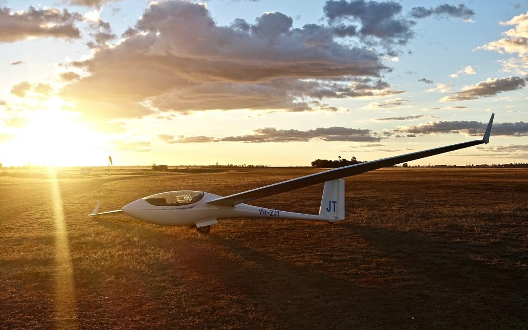 glider in a sunset