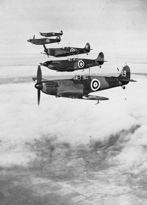 5 Spitfires black and white