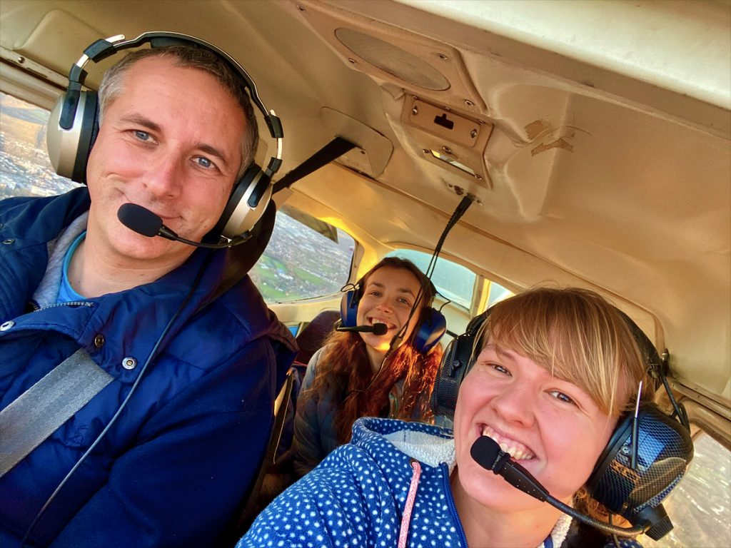 3 passengers in a Cessna